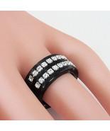 Black & Grey Acrylic Band Ring 2 Rows Swarovski Elements Crystal Luna Bi... - $38.61