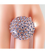 New Clear Acrylic Domed Ring Numerous Purple Swarovski Elements Crystal ... - $37.00