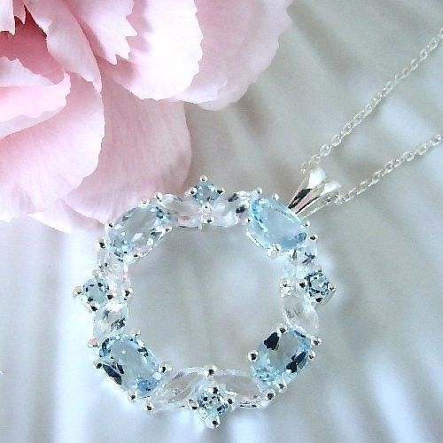 Women's 3.6 Ct Topaz Circle 925 Sterling Silver Pendant & Sterling Chain 18""