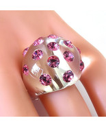 New Clear Acrylic Domed Ring Pink Swarovski Elements Crystal On Dome Siz... - $39.60