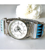 Kokopelli Man's Watch Native American Sterling Inlaid Turquoise Franck Y... - $345.51