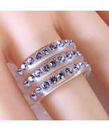 Clear Acrylic 3 Band Ring 3 Rows Lavender Swarovski Elements Crystal Lun... - $39.00