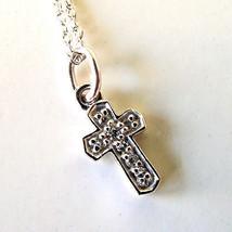 """Child's Kobelli """"LOVE""""  .05 Ct Diamond 14K White Gold Cross Pendant Neck... - $242.55"""