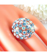Clear Acrylic Domed Ring Numerous Blue & Rainbow Swarovski Elements Crys... - $27.00