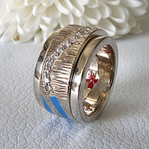 New Love Peace & Hope Dexter Collection Spinning Ring Blue Enamel 19 Diamonds 5¾ - $292.05