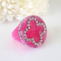 Pink Acrylic Band Ring Cloverleaf Clear Swarovski Elements Crystal On Flat Top - $27.00