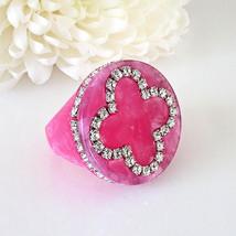 Pink Acrylic Band Ring Cloverleaf Clear Swarovski Elements Crystal On Fl... - $27.00