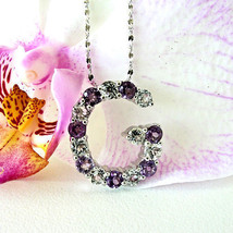 "Amethyst Topaz Necklace Initial ""G"" 925 Sterling Silver Setting And 16"" ... - $39.59"
