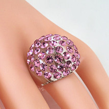 New Clear Acrylic Domed Ring Made With Pink Swarovski Elements Crystals On Dome - $29.00
