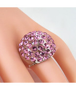 New Clear Acrylic Domed Ring Made With Pink Swarovski Elements Crystals ... - $29.00