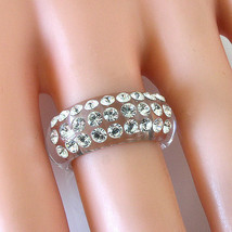 Convex Clear Acrylic Ring 3 Straight Row Pattern Swarovski  Elements Crystals 8½ - $26.73