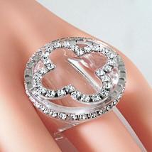 Clear Acrylic Band Ring Cloverleaf Clear Swarovski Elements Crystal On Flat Top - $27.00
