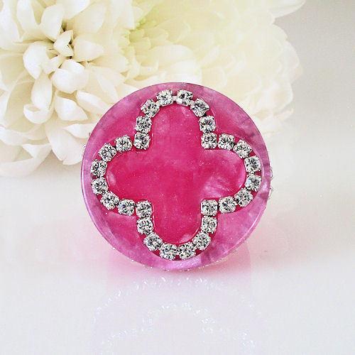 Pink Acrylic Band Ring Cloverleaf Clear Swarovski Elements Crystal On Flat Top