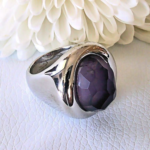 Love Peace & Hope One Of A Kind 925 Sterling Silver Faceted Amethyst Ring Size 8
