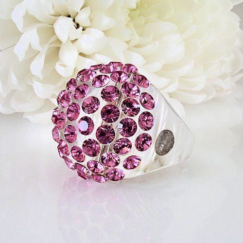 New Clear Acrylic Domed Ring Made With Pink Swarovski Elements Crystals On Dome