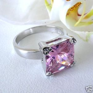 Sterling Ring Pink Princess Solitaire CZ Crystal Accent