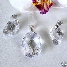 Fancy Crystal CZ Sterling Butterfly Earring Pendant Set - $64.33
