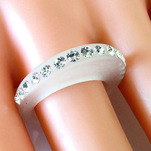 Frosted Acrylic Ring Single Row Of Swarovski Elements Crystal On Raised ... - $14.00