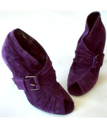 Bruno Frisoni Violet Suede Open Toe Ankle Bootie With Buckle Size 8  MSR... - $440.55