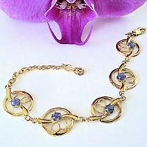 Gorgeous! 5 Cabochon Amethysts Link Sterling Bracelet - $49.49
