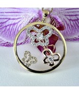 3  Butterfly Pendant CZ Filled Yellow, Rose, Silver 14Kt  925 Sterling S... - $39.59