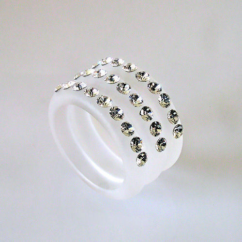 Frosted Acrylic 3 Band Ring 3 Rows Of Swarovski Elements Crystal  Luna Bianca 9
