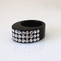 "Luna Bianca .3"" Wide Oval Black Acrylic Ring 3 Rows Clear Swarovski Crystals 8.0 - $23.76"
