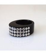 "Luna Bianca .3"" Wide Oval Black Acrylic Ring 3 Rows Clear Swarovski Crys... - $23.76"