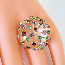 Clear Acrylic Domed Ring MultiColored Extended Swarovski Element Crystal Dome 8½ - $44.55