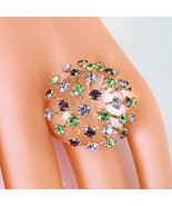 Clear Acrylic Domed Ring MultiColored Extended Swarovski Element Crystal... - $44.55