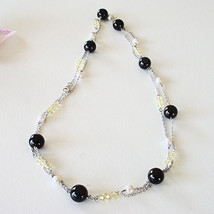 "Sale 40"" Pearl Peridot Onyx Gemstones Layered 925 Sterling Silver Necklace - $89.09"