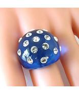 Luna Bianca Blue Acrylic Domed Ring & Swarovski Element Crystals Random ... - $25.00