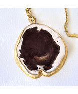 Heather Benjamin Petrified Wood Wave Chain Necklace 22k Gold Over Sterli... - $321.75
