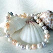 Genuine Tri-Color Freshwater Pearl Sterling  Bracelet - $59.39