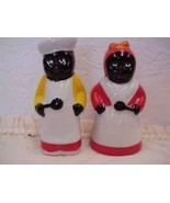 Black Americana Black Chef and Lady with Spoons Salt and Pepper Shakers - $9.49