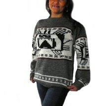 Alpakaandmore Womens Hand-knitted Peruvian Sweater Alpaca Wool Grey (Medium) - $163.35