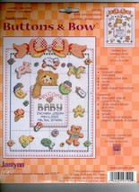 Janlynn's BUTTON and BOWS Birth Announcement Counted Cross Stitch Kit #23-102 - $12.19