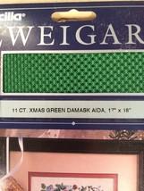 11 ct Christmas Green Damask Aida Zweigart - $5.00
