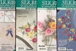 4 Bucilla Silk Ribbon Embroidery Transfer Patterns~Lot F - $11.30
