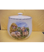 East Texas Hand Made Pottery Bean Pot or Cookie Jar w/lid Pigs Design - $23.36