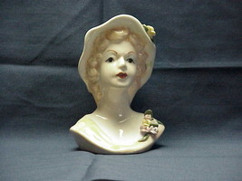 Lady Head Vase with Lilac Hat and Pink Flowers Old - $23.36