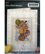 Design Works CLOWN BEAR Cross Stitch Greetings Cross Stitch Card Kit #711 - $7.69