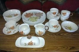 """Vintage METLOX Poppytrail """"WOODLAND GOLD"""" Dinnerware ~ 27 Piece Set  - $66.33"""