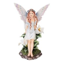 Meadowland Flower Fairy Sitting Statue Polyresi... - $23.15