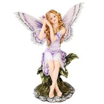 Meadowland Purple Fairy Sitting Statue Polyresi... - $26.72