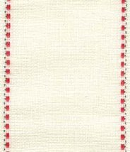 "30ct Kristin Ivory/Red & Green banding 2.7""w x 36"" (1yd) 100% linen Mill Hill - $10.71"