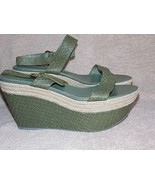 Serio Rossi Snake Olive Green PLATFORM Sandals 39/8.5 Womens New Read De... - $79.19