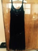 Pre-owned S I Fashions Woman Black Velvet & Nylon Tank Dress Sz 10 - $44.54