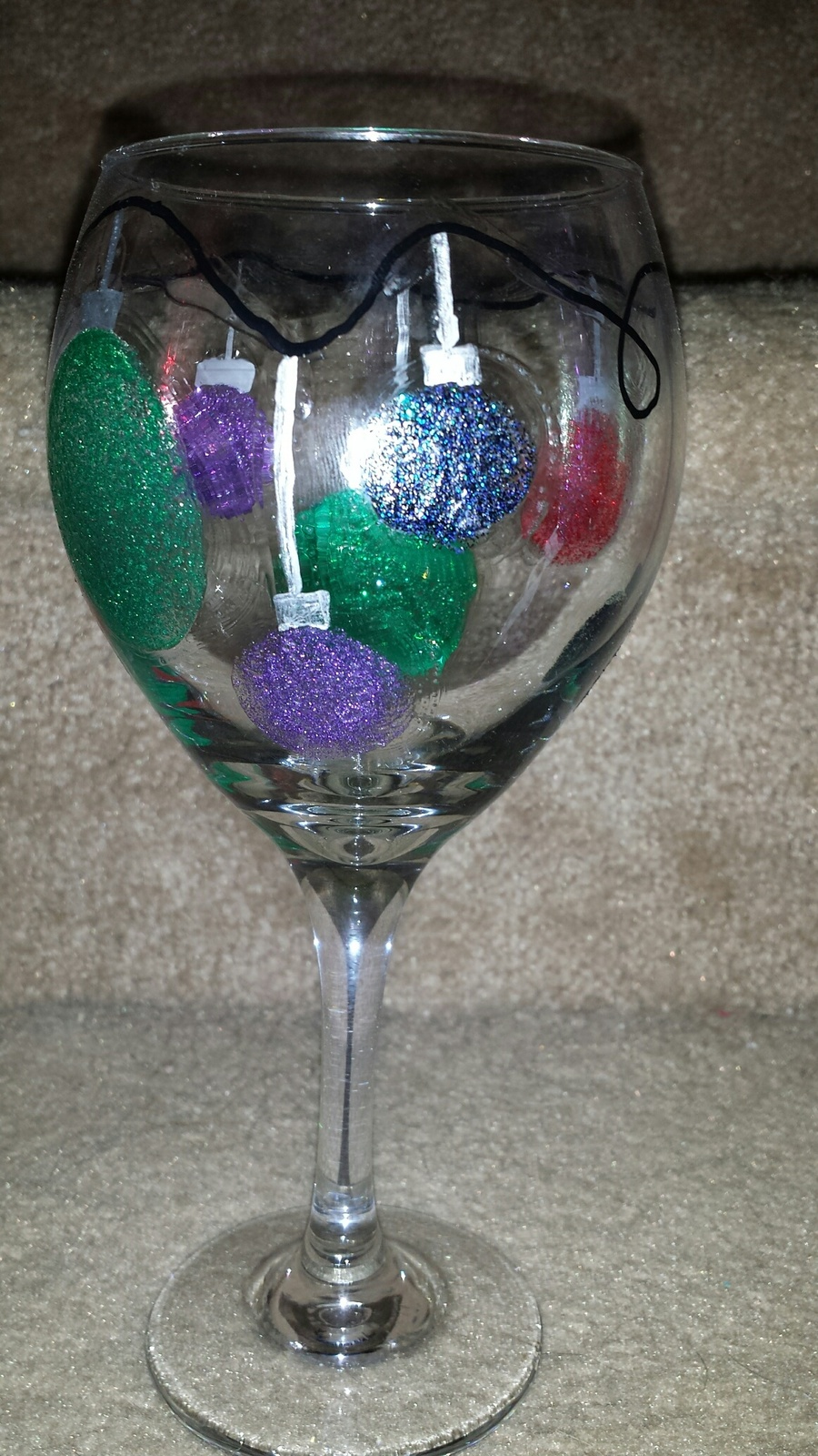 Sparkly Christmas Ornament Painted Wine Goblet