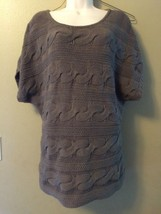 EXPRESS Taupe Gray Brown Cable Knit Dolman Sleeve Sweater Womens Petite ... - $21.28